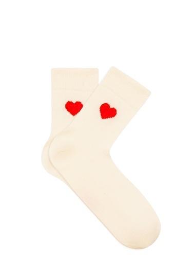 Mavi Kalp Baskılı Ekru Soket Çorap Bej